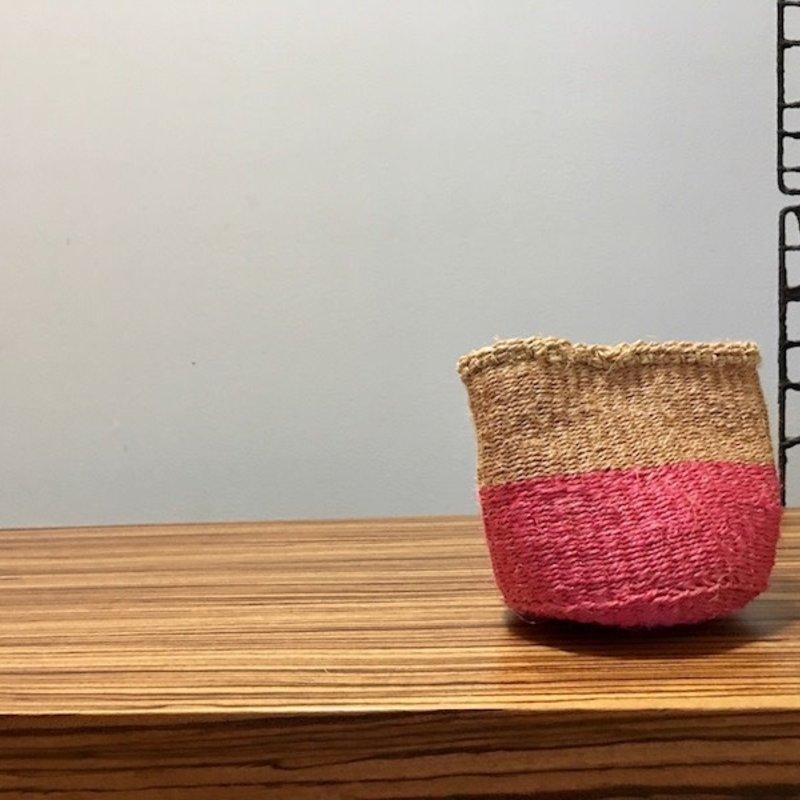 """WS- Sisal Basket- Pink-5"""" x 5"""" (Kenya)"""