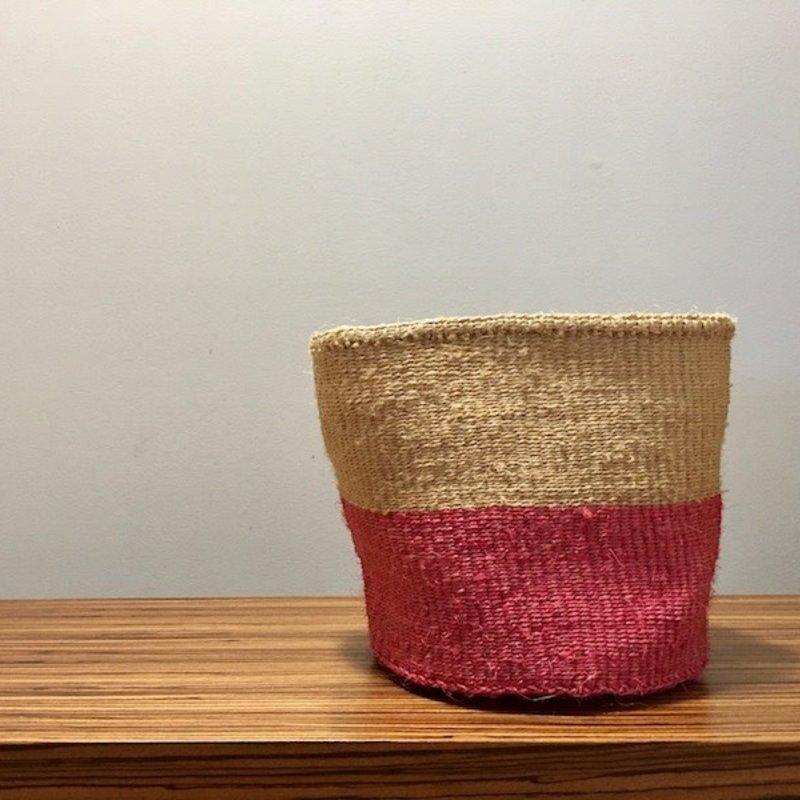 """WS- Sisal Basket- Pink-9"""" x 9"""" (Kenya)"""
