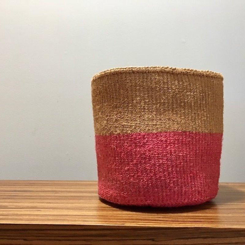 """WS- Sisal Basket- Pink-10"""" x 10"""" (Kenya)"""