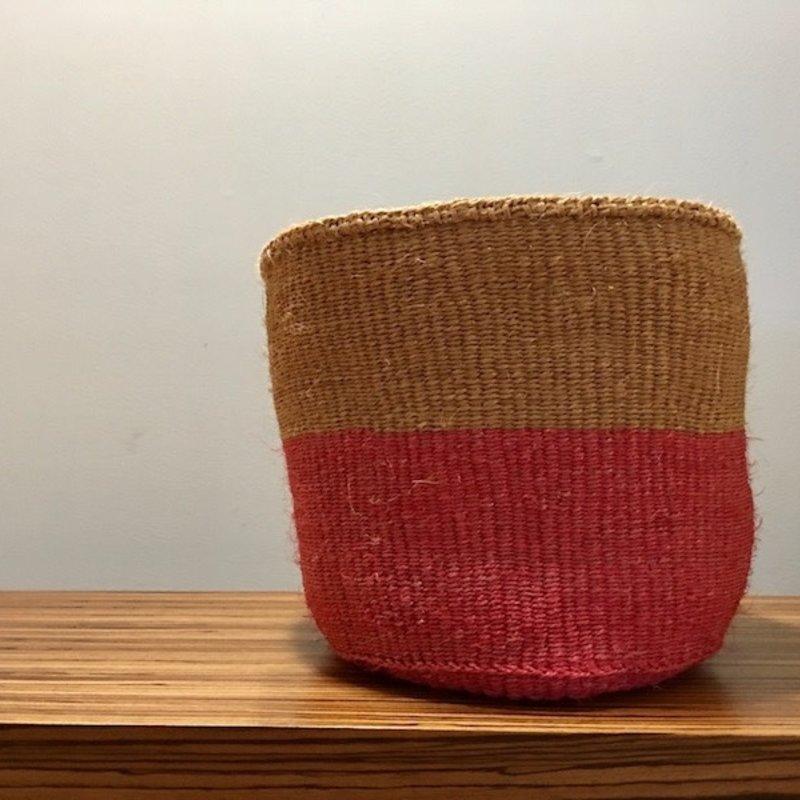 """WS- Sisal Basket- Pink-11"""" x 11"""" (Kenya)"""