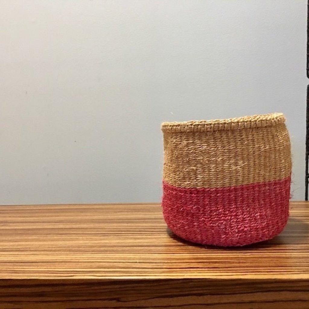 """Sisal Basket- Pink-6"""" x 6"""" (Kenya)"""
