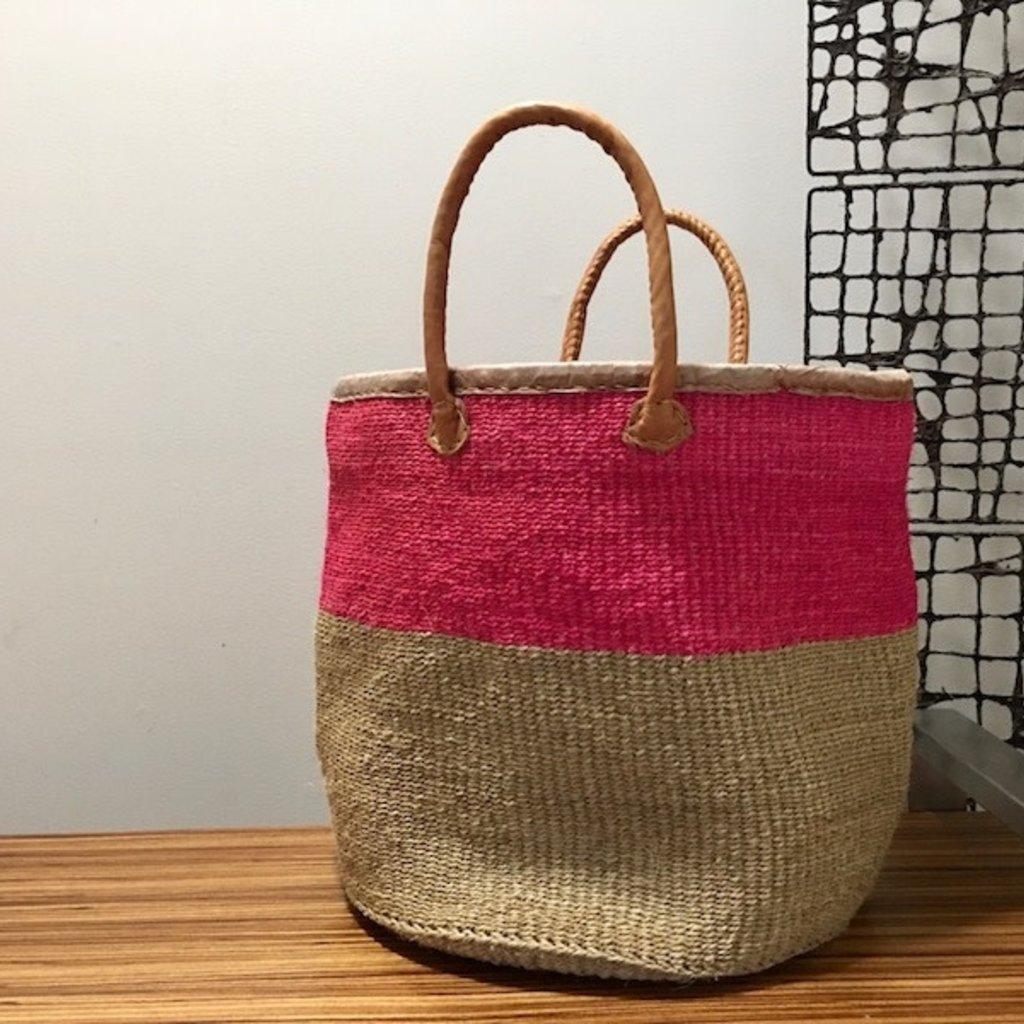 Sisal Basket Bag with Leather Handles-Pink (Kenya)