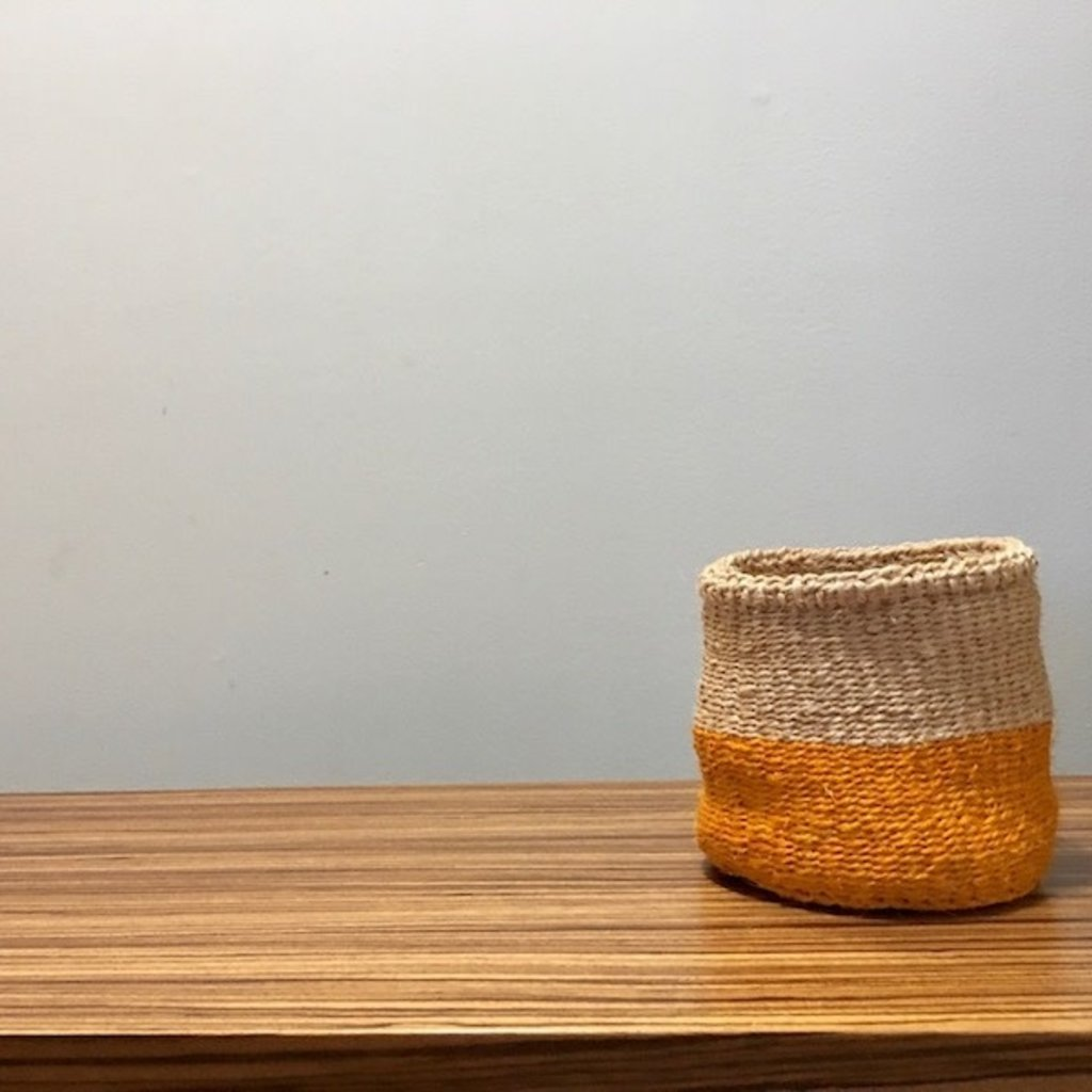 "Sisal Basket- Yellow-5"" x 5"" (Kenya)"