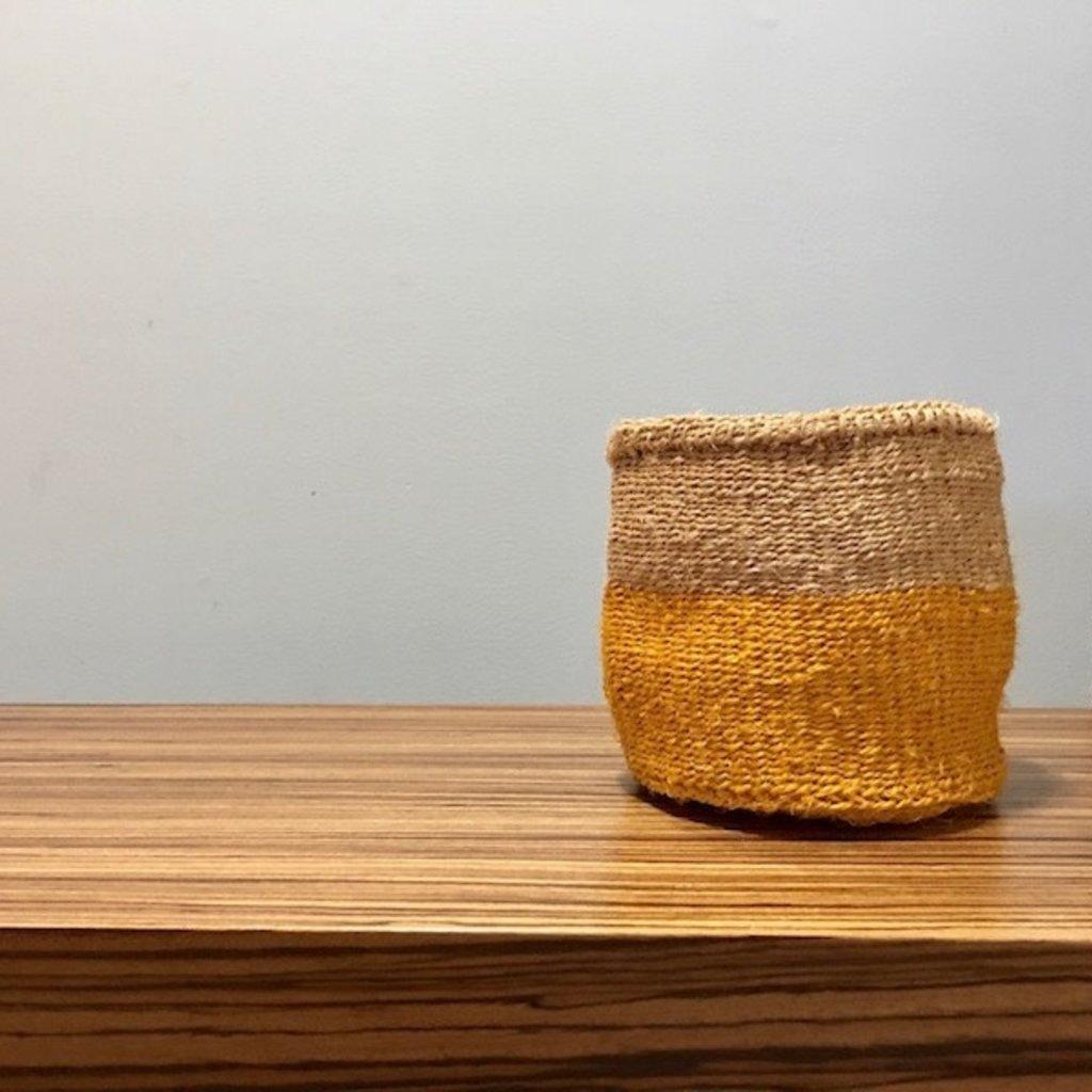 "Sisal Basket- Yellow-6"" x 6"" (Kenya)"