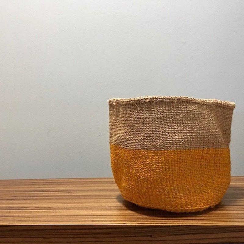 """WS- Sisal Basket- Yellow-9"""" x 9"""" (Kenya)"""