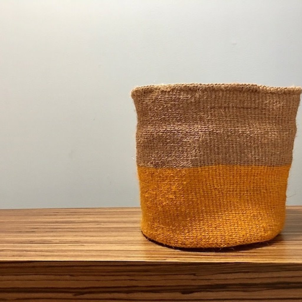 "Sisal Basket- Yellow-11"" x 11"" (Kenya)"
