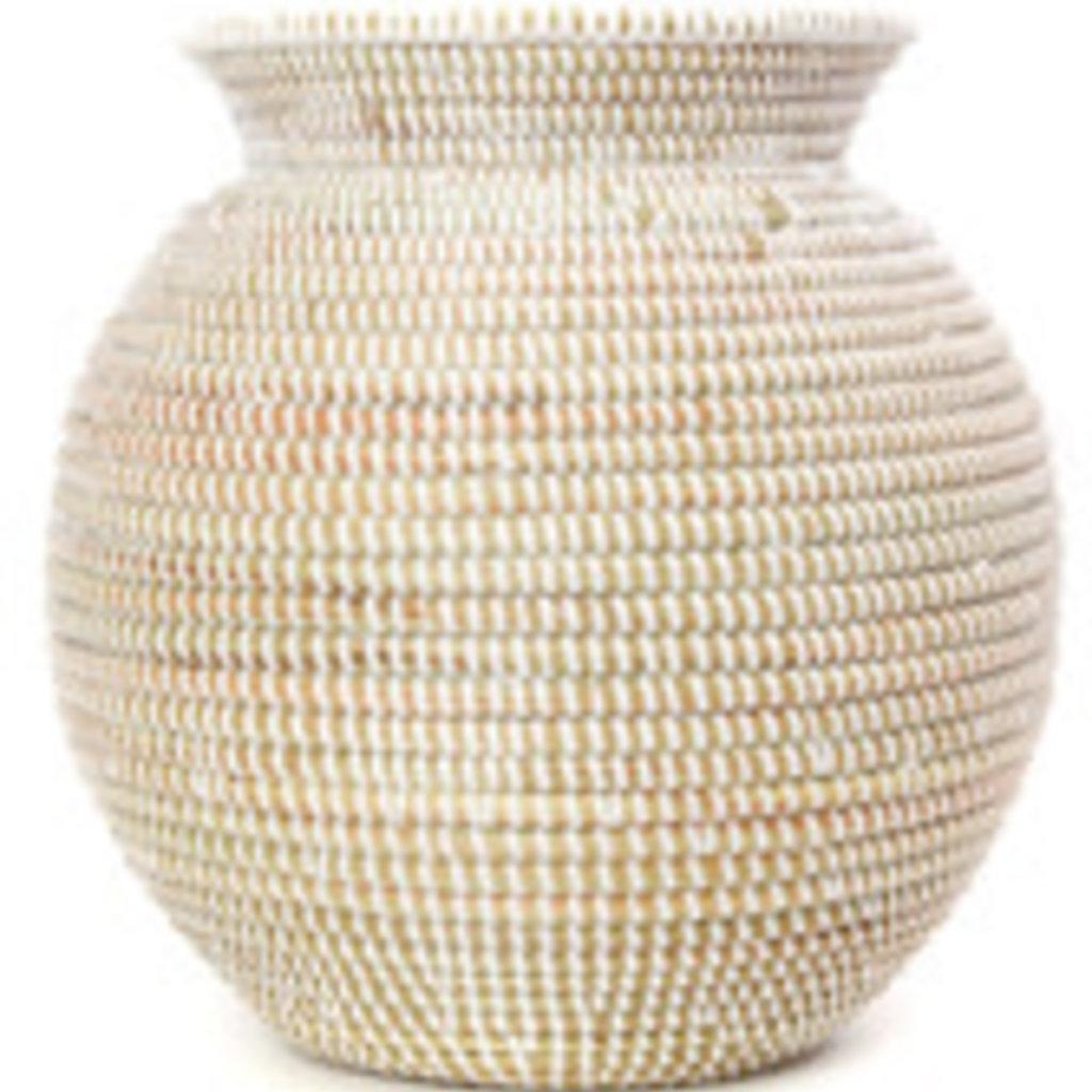 Basket- Rimmed-Kitchen-Cattail Stalks-Plastic-White (Senegal)