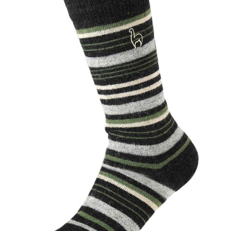 Socks- Alpaca-Stripe-Moss-Medium (Peru)