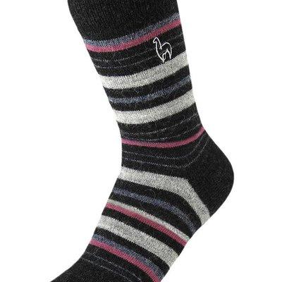Socks- Alpaca-Stripe-Mauve-Medium (Peru)