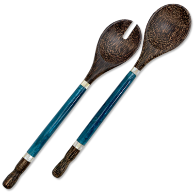 Salad Servers- Capiz Shell & Palm Wood-Indigo (Indonesia)