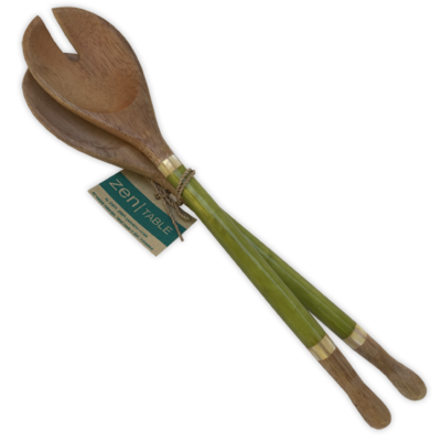 Salad Servers- Capiz Shell & Durian Wood-Citrus Green (Indonesia)