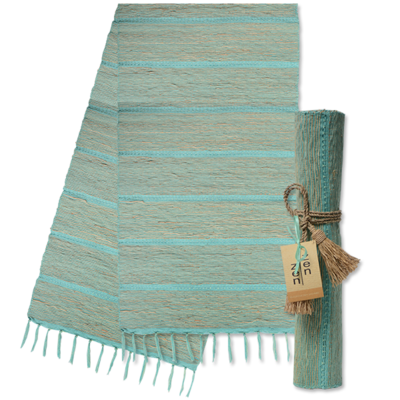 Runner- Table-Vetiver-Pistachio Aqua Stripes (Indonesia)