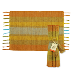 Placemats- Vetiver-Stripes-Orange Fiesta-Set/6  (Indonesia)