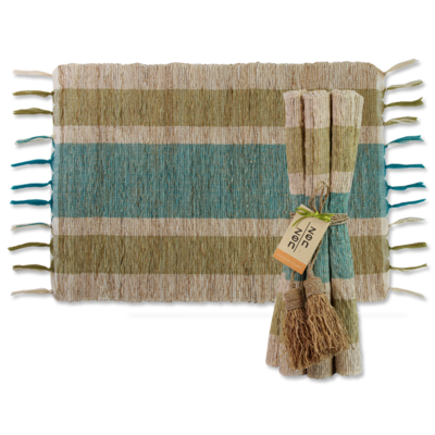 Placemats- Vetiver-Stripes-Olive Teal-Set/6  (Indonesia)