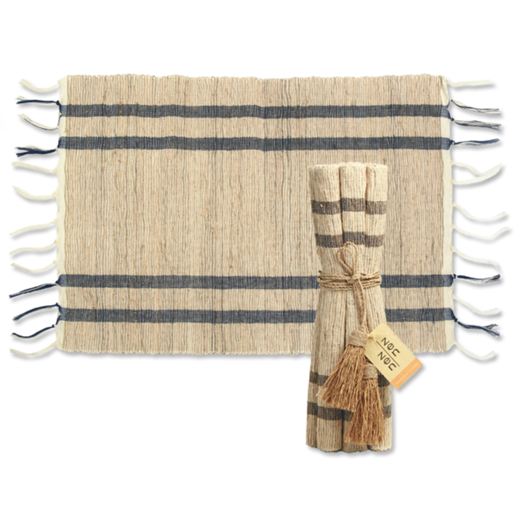 Placemats- Vetiver-Stripes-Indigo-Natural-Set/6 (Indonesia)