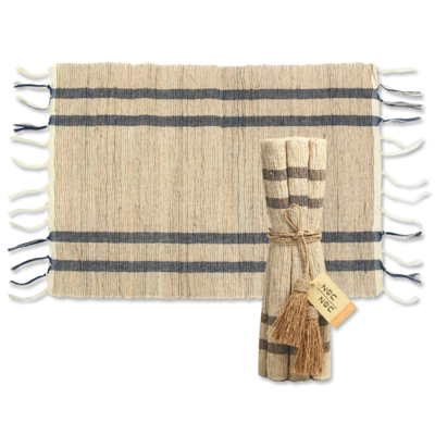 Placemats- Vetiver-Stripes-Indigo-Natural-Set/6 (Indonesia)