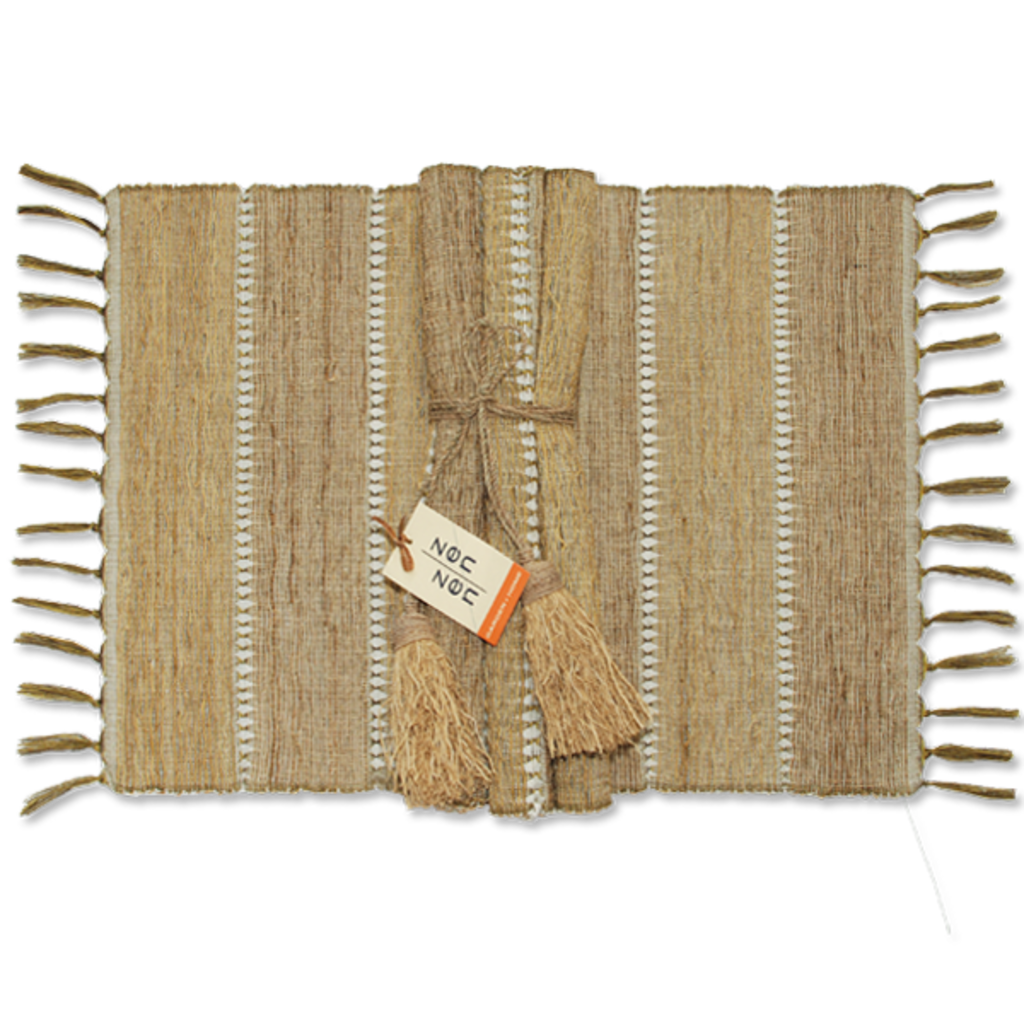Placemats- Vetiver-Stripes-Beige-Set /6 (Indonesia)