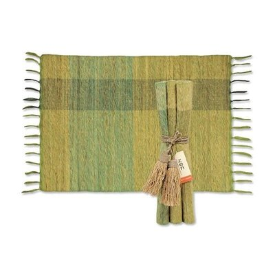 Placemats- Vetiver-Blocks-Green-Set/6 (Indonesia)/