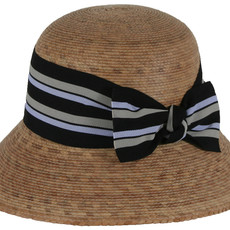Hat- Ella- Multi Striped Bow-Palm Straw (Mexico)