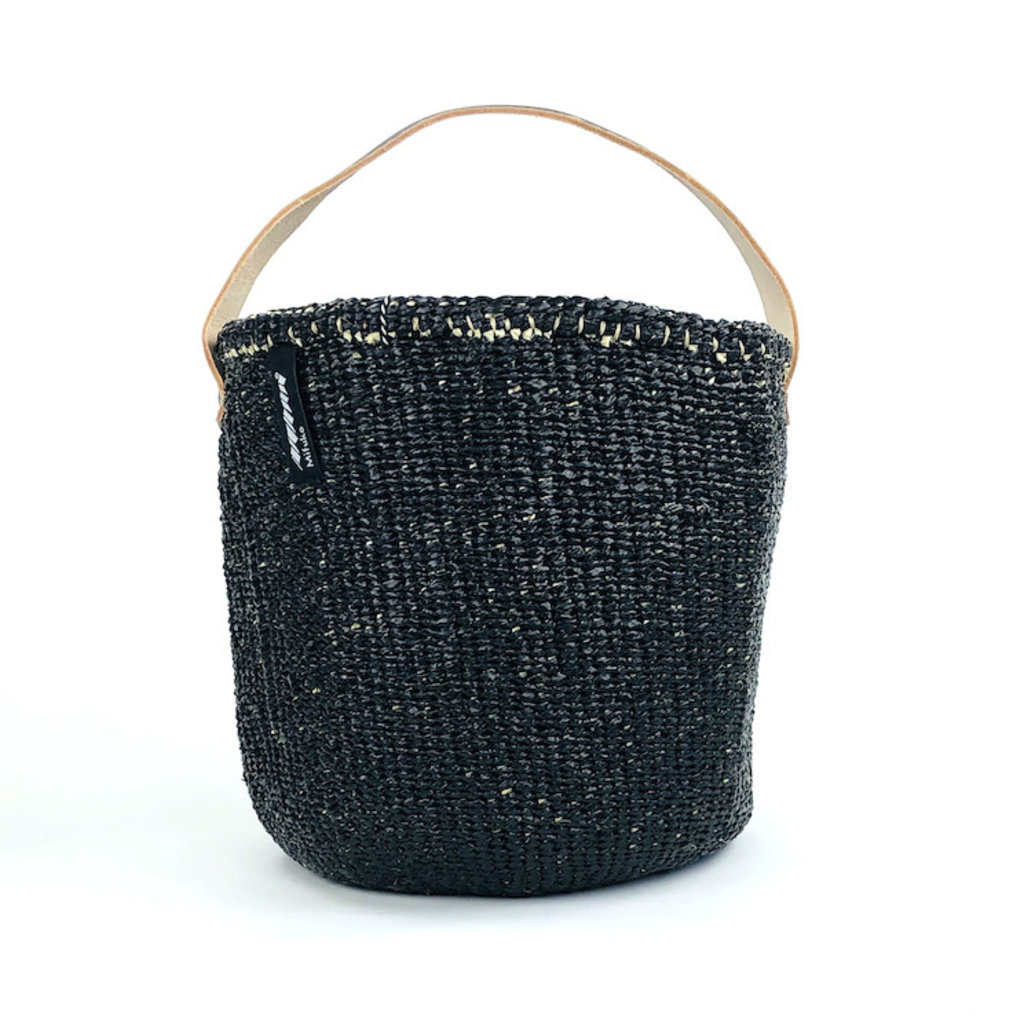 Basket- Small-Black-One Handle-Sisal/Plastic-Kiondo (Kenya)