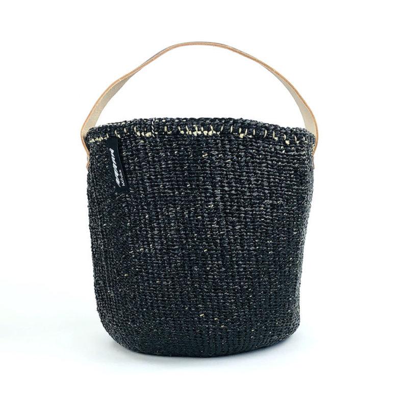Basket- Small-Black-One Handle-Sisal/Plastic-Kiondo (Kenya)