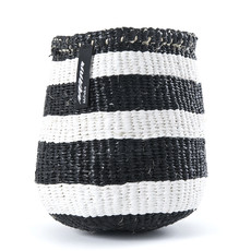 Basket- Extra Small-Thick White & Black Stripes-Sisal/Plastic-Kiondo (Kenya)