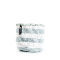 Basket- Extra Small-Thick White & Light Blue Stripes-Sisal/Plastic-Kiondo (Kenya)