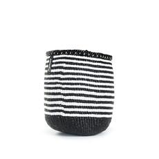 Basket- Extra Small-White & Black Thin Stripes-Sisal/Plastic-Kiondo (Kenya)