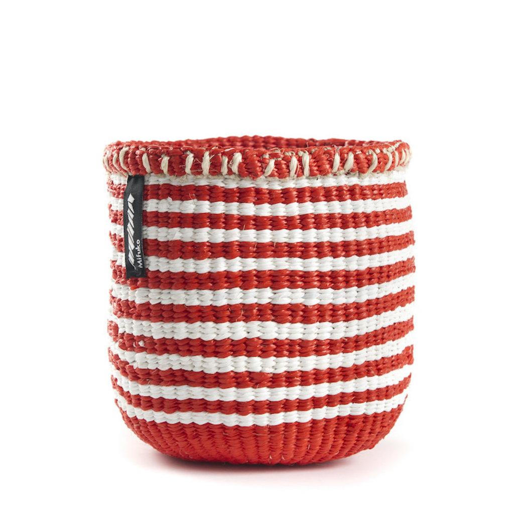 Basket- Extra Small-White & Red Thin Stripes-Sisal/Plastic-Kiondo (Kenya)