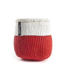 Basket- Extra Small-White & Red 50/50-Sisal/Plastic-Kiondo (Kenya)