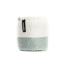 Basket- Extra Small-White & Light Blue 50/50-Sisal/Plastic-Kiondo (Kenya)