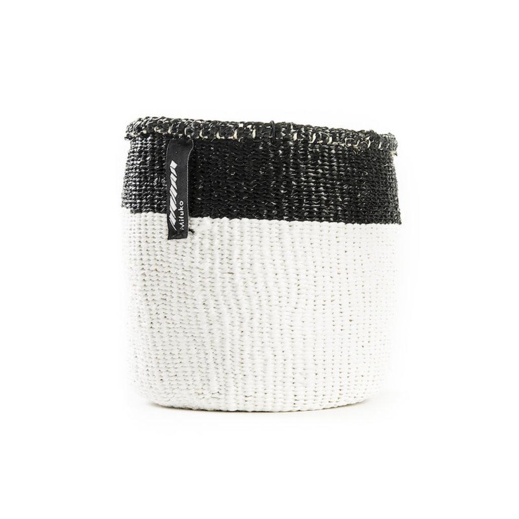 Basket- Extra Small-White with Black Top Stripe-Sisal/Plastic-Kiondo (Kenya)