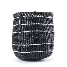 Basket- Extra Small-Black with 5 Thin White Stripes-Sisal/Plastic-Kiondo (Kenya)