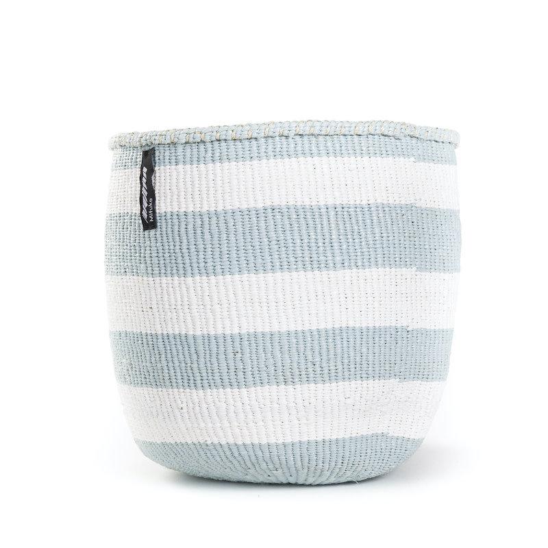 Basket- Small-Thick White & Light Blue Stripes-Sisal/Plastic-Kiondo (Kenya)