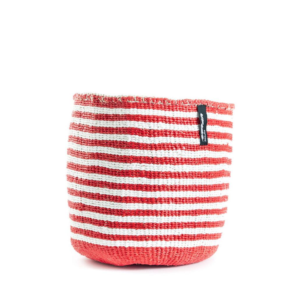Basket- Small-White & Red  Wide Striped-Sisal/Plastic-Kiondo (Kenya)