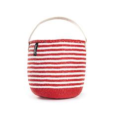 Basket- Small-White & Red Thin Striped-One Handle-Sisal/Plastic-Kiondo (Kenya)