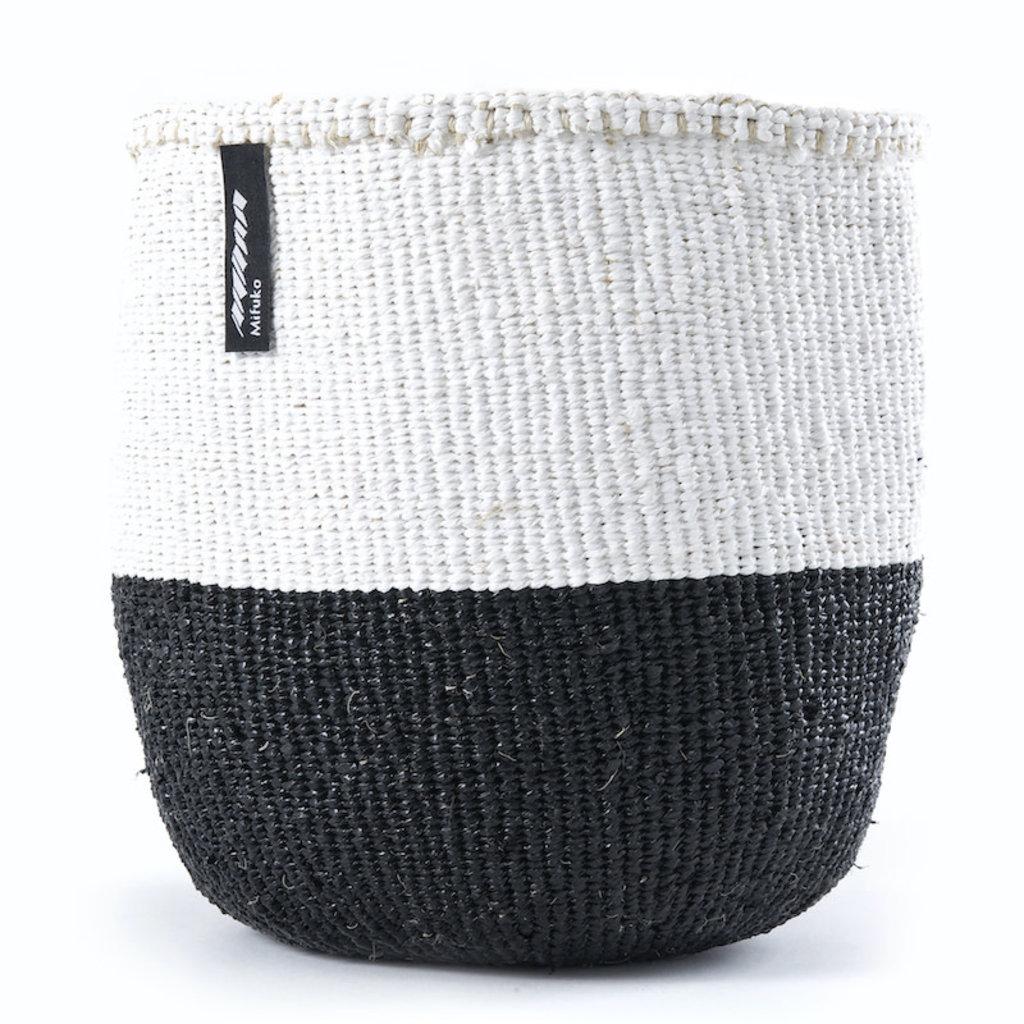 Basket- Small-White & Black 50/50-Sisal/Plastic-Kiondo (Kenya)