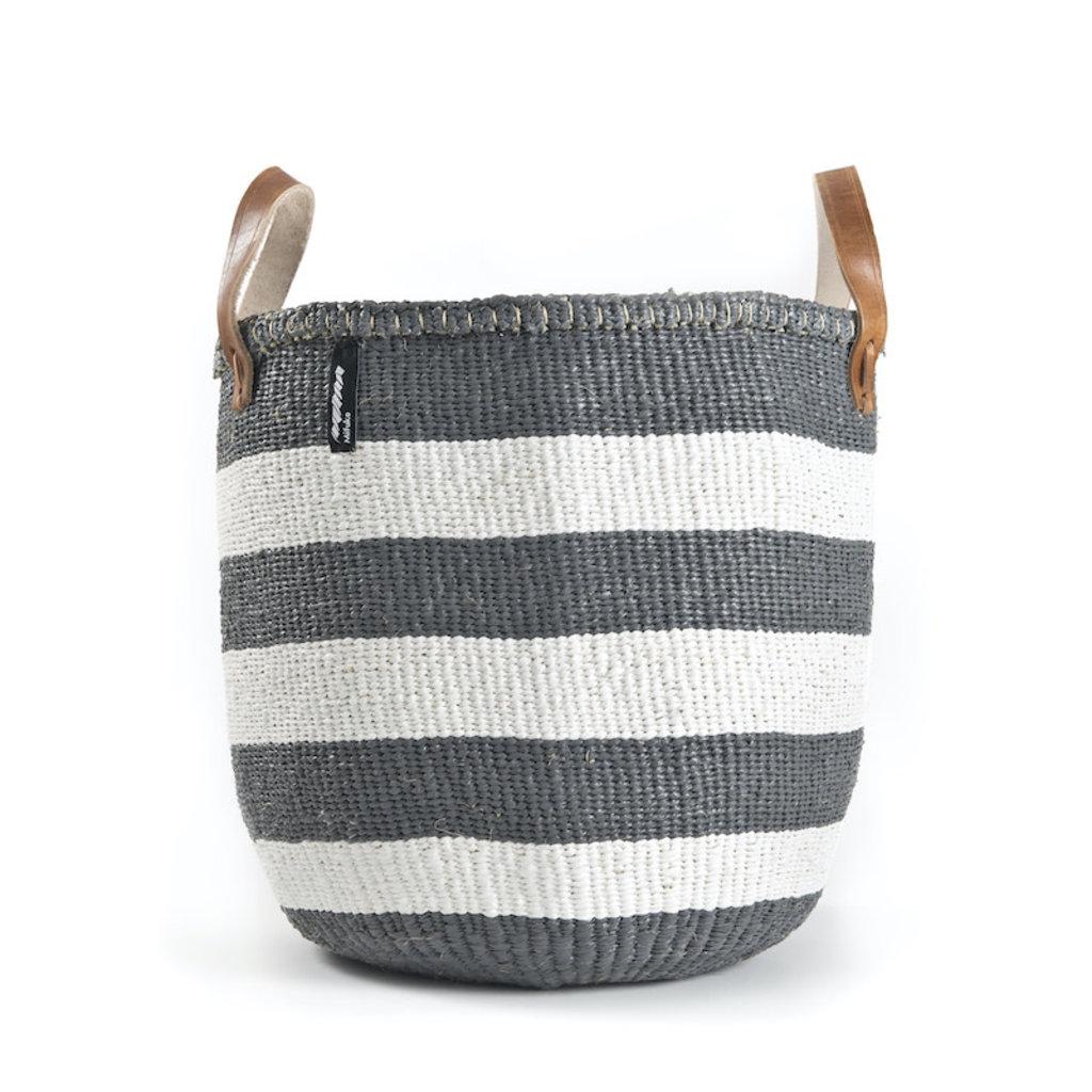 Basket- Medium-Thick White & Grey Stripes-Tote-Sisal/Plastic-Kiondo (Kenya)