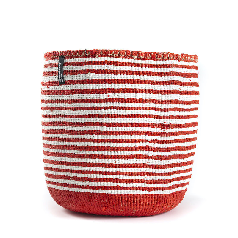Basket- Medium-White & Red Thin Stripes-Sisal/Plastic-Kiondo (Kenya)