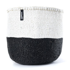 Basket- Medium-White & Black 50/50-Sisal/Plastic-Kiondo (Kenya)