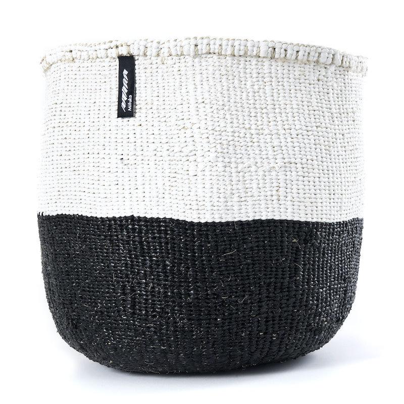 Basket- Medium-White & Black 50/50-Sisal/Plastic-Kiondo (Kenya)