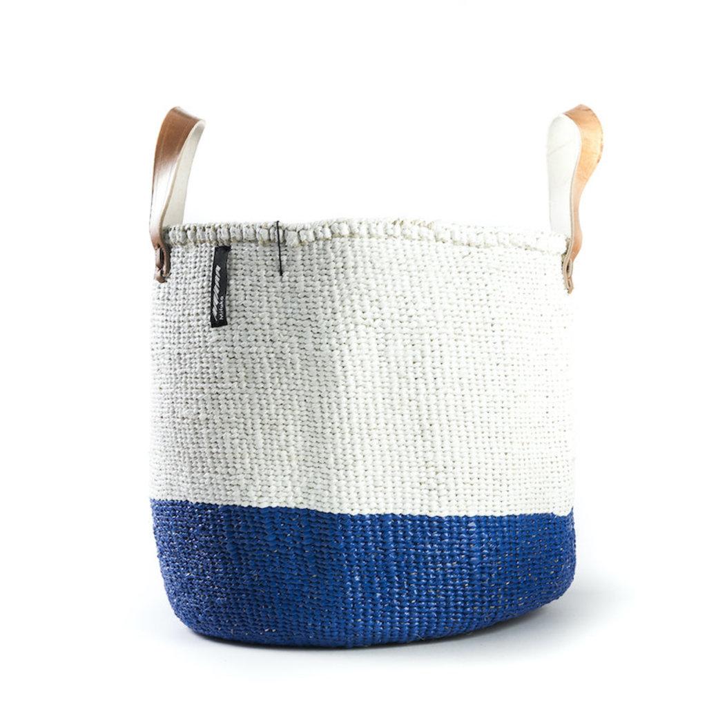 Basket- Medium-50/50-White & Blue-Tote-Sisal/Plastic-Kiondo (Kenya)