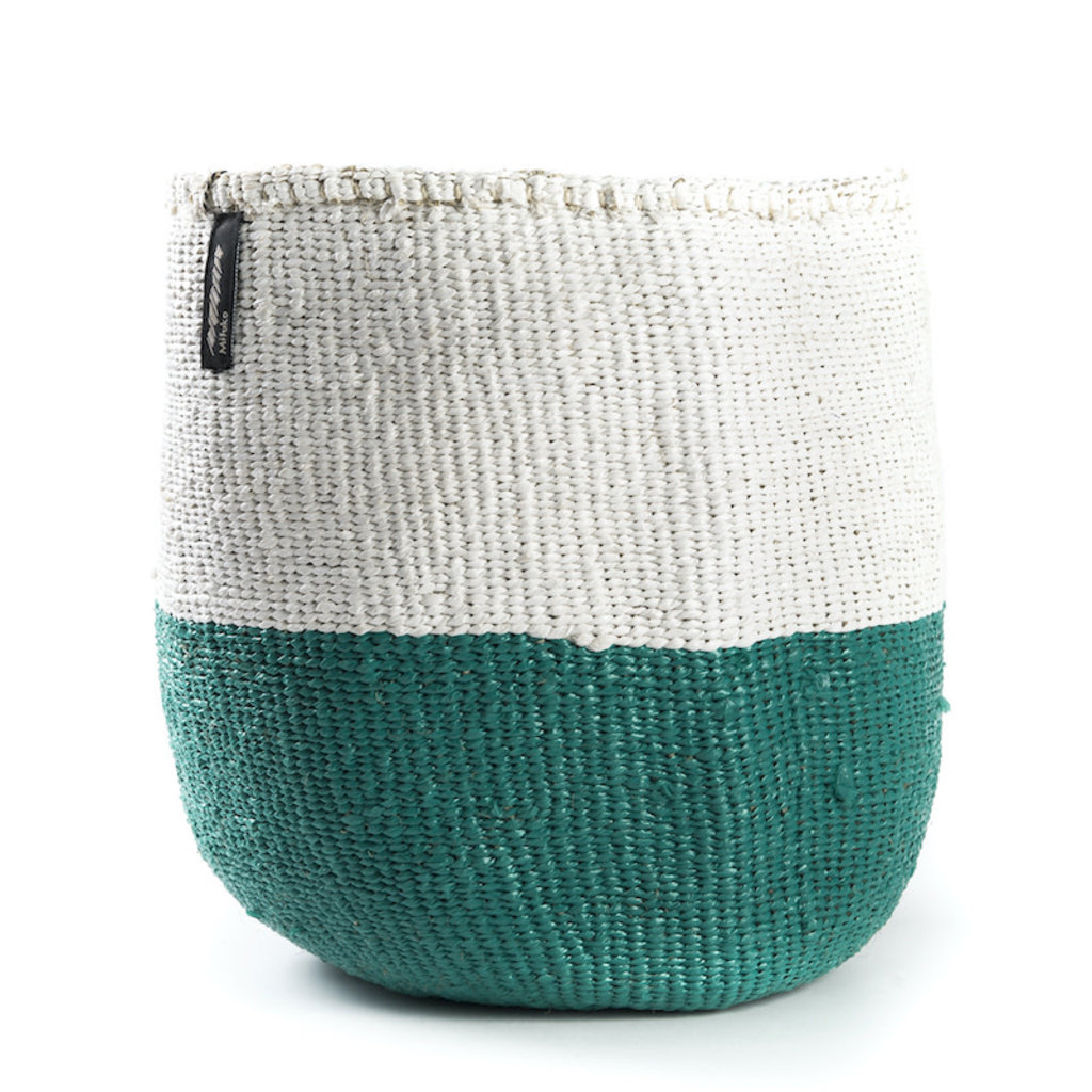 Basket- Medium-White & Green 50/50-Sisal/Plastic-Kiondo (Kenya)
