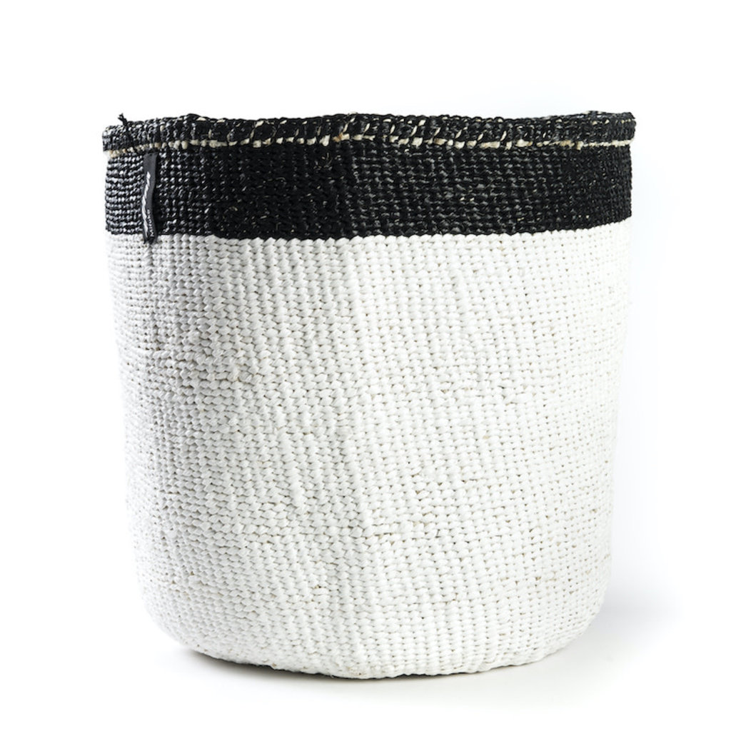 Basket- Medium-White with Black Top Stripe-Sisal/Plastic-Kiondo (Kenya)