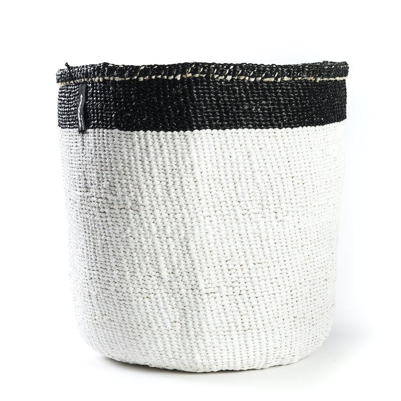 Basket- Medium-White with Black Top Stripe-Sisal/Plastic-Kiondo (Kenya)