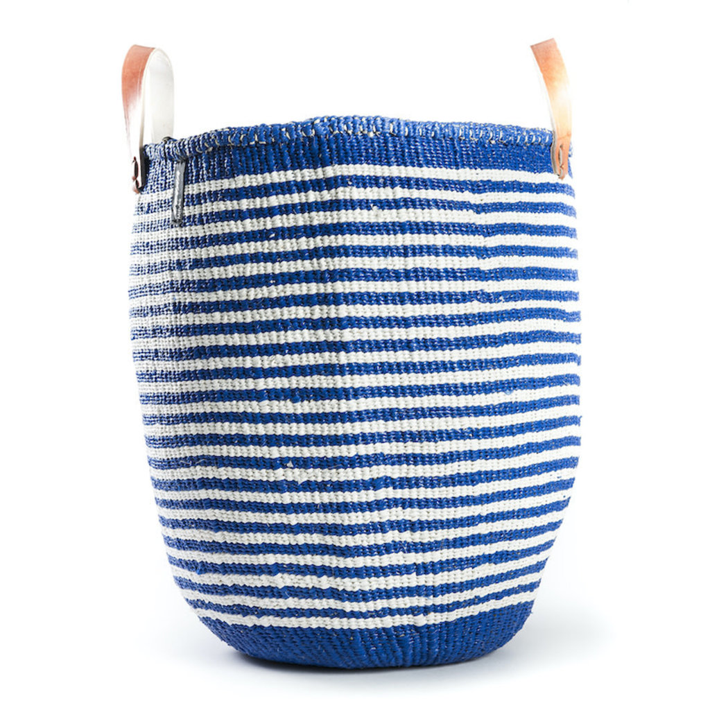 Basket- Large-White & Blue Thin Stripes-Tote-Sisal/Plastic-Kiondo (Kenya)