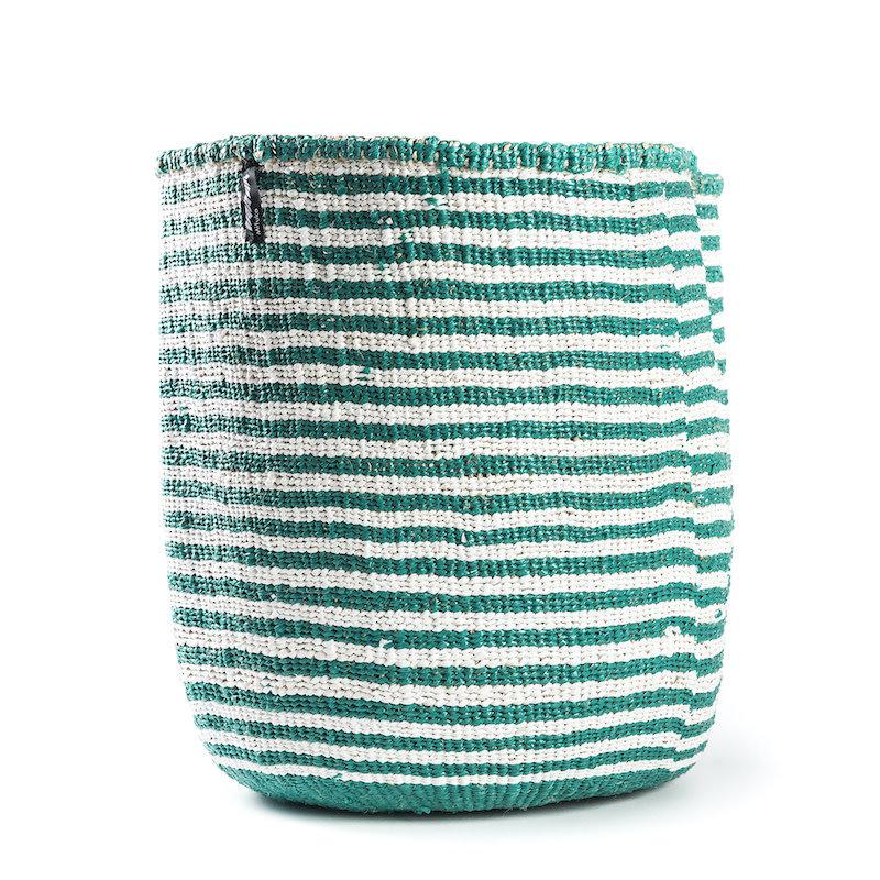Basket- Large-White & Green Thin Stripes-Sisal/Plastic-Kiondo (Kenya)