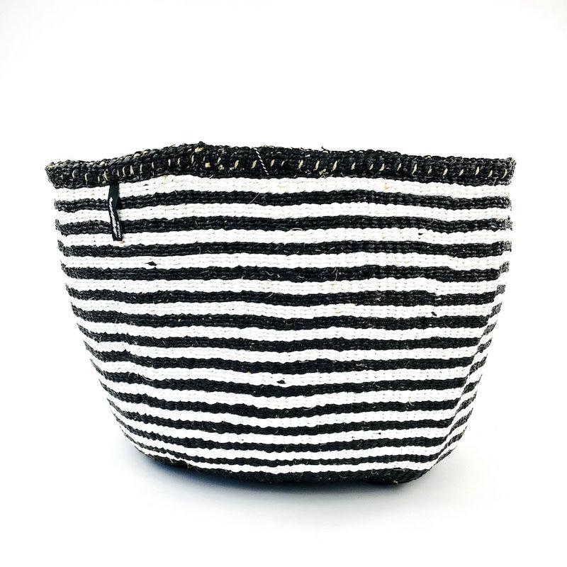 Basket- XXLarge-White & Black Thin Stripes-Sisal/Plastic-Kiondo (Kenya)
