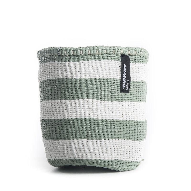 Basket- Extra Small-Thick White & Light Green Stripes-Sisal/Plastic-Kiondo (Kenya)