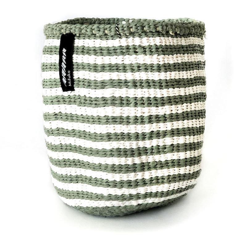 Basket- Extra  Small-White & Light Green Thin Stripes-Sisal/Plastic-Kiondo (Kenya)